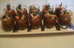 Carpaccio d'aubergine aux gambas à l'huile d'argan