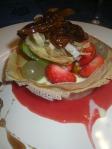 Coulis de fraise et mangue caramélisée au vinaigre balsamique