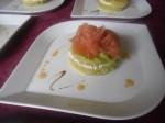 Marbré de crêpes marocaines avocat,fromages aux herbes et saumon à l'huile d'argan